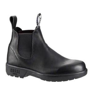 NWOT Rossi Black Leather Ankle Boot Steel Cap